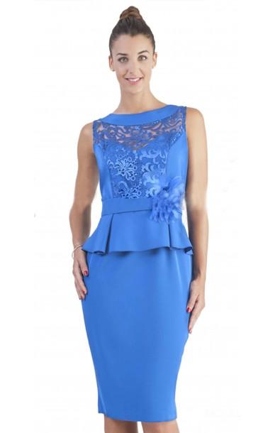 Vestido corto sin mangas pecho calado en encaje y volante en la cintura color azul klein