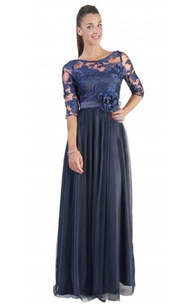 Vestido largo con cuerpo de encaje y manga francesa color azul marino