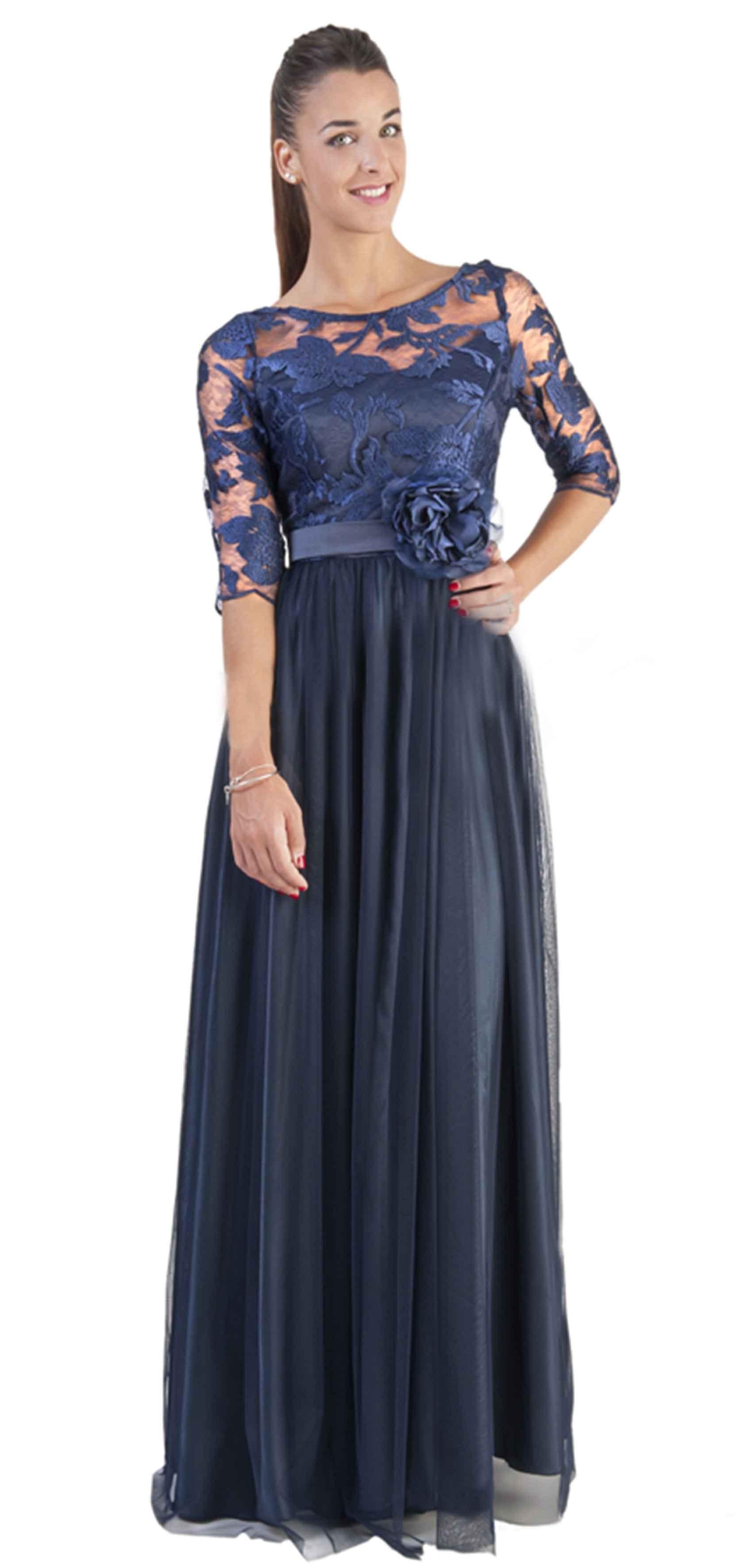 Vestido de blonda azul marino