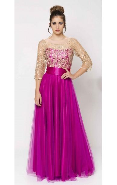 d3251da86 Vestido largo bicolor cuerpo de encaje y falda de tul color fucsia oro