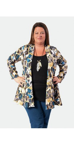 Bluson doble con top de lycra liso y kimono estampado color azulon con negro